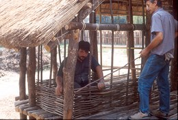 The wall frames were made using ash branches.