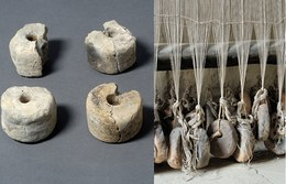 The terracotta weights were used on upright wooden looms to ensure tension – essential in the weaving process –, which was obtained by attaching weights to the lower end of the threads. Bronze Age communities in Europe made overwhelming use of linen, wool and hemp thread in their textiles.