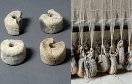I pesi in terracotta venivano utilizzati su telai verticali di legno nei quali la tensione dell'ordito, indispensabile nel processo di tessitura, si otteneva legando i pesi all'estremità inferiore dei fili. Per la realizzazione dei tessuti le comunità dell'età del bronzo del continente europeo utilizzavano prevalentemente filati di lino e di lana, ma anche di canapa